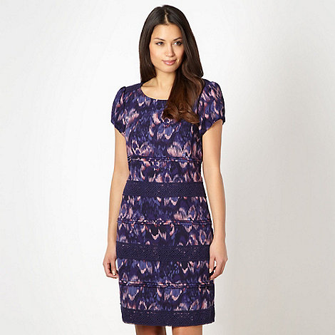 RJR.John Rocha - Designer dark purple abstract floral lace shift dress