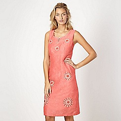 RJR.John Rocha - Designer pink embroidered circles linen blend dress