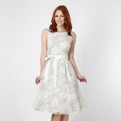 RJR.John Rocha - Designer pale grey floral organza prom dress