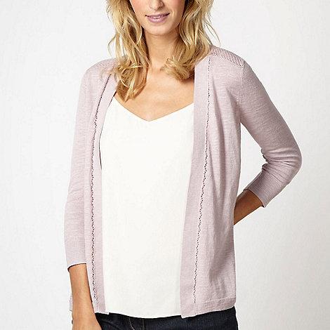 RJR.John Rocha - Designer pale pink pointelle shoulder cardigan