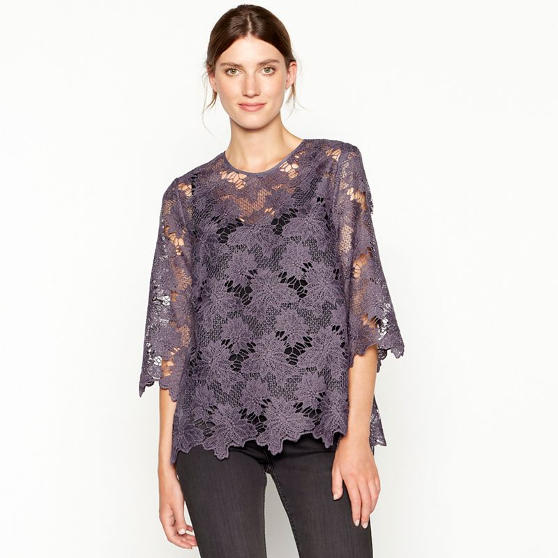 RJR.John Rocha - Dark Purple Chunky Lace Top