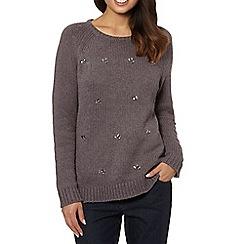 RJR.John Rocha - Designer taupe embellished chunky knit jumper