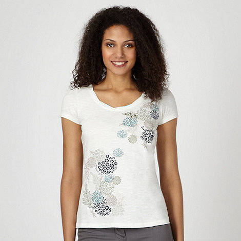 RJR.John Rocha - Designer ivory floral organic cotton t-shirt