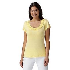 RJR.John Rocha - Designer pale yellow frill trim t-shirt