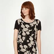 Designer black floral print top
