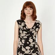 Designer navy floral print cowl neck top