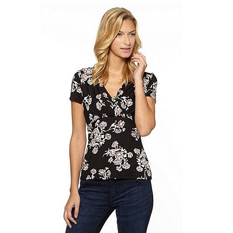 RJR.John Rocha - Designer black painted floral wrap jersey top