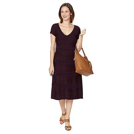 RJR.John Rocha - Designer plum V neck ripple dress
