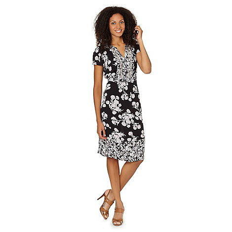 RJR.John Rocha - Designer black moss printed embellished crepe dress