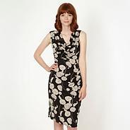 Designer navy floral print cowl neck dress