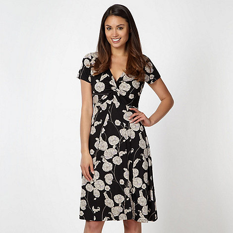 RJR.John Rocha - Designer black poppy print jersey dress