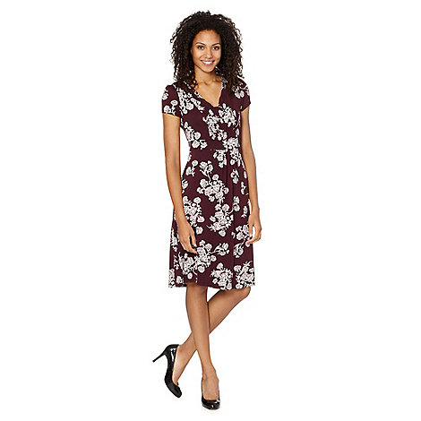 RJR.John Rocha - Designer plum painted floral jersey dress