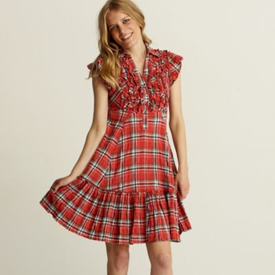 Peach check ruffle detail dress