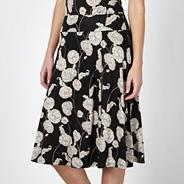 Designer black floral wrap jersey skirt