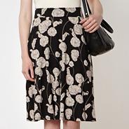 Designer black floral jersey skirt
