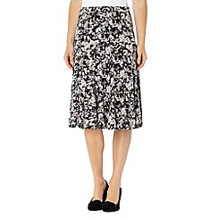 RJR.John Rocha - Designer black floral printed jersey skirt
