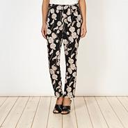 Designer navy floral soft trousers