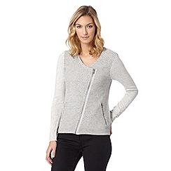 RJR.John Rocha - Designer pale grey knitted biker jacket