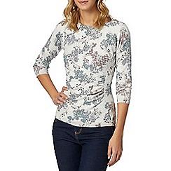 RJR.John Rocha - Designer light grey floral printed side ruched jumper