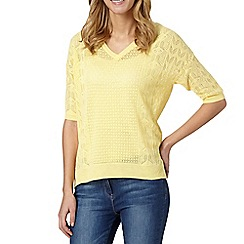 RJR.John Rocha - Designer yellow crochet short sleeved jumper