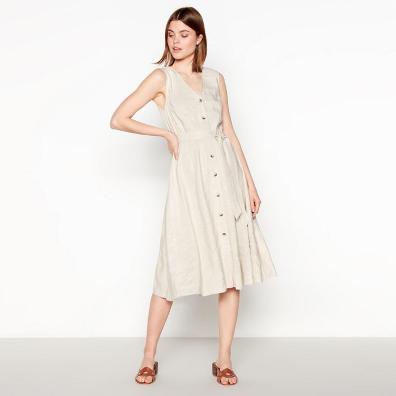 18fc8fe763 John Rocha Light Gold Glazed Knee Length Linen Blend Dress - 8 - Women's -  Dresses - Mirror Online