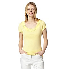 RJR.John Rocha - Designer pale yellow frill scoop neck t-shirt