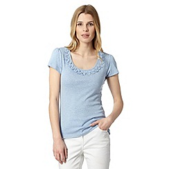 RJR.John Rocha - Designer pale blue frill scoop neck t-shirt