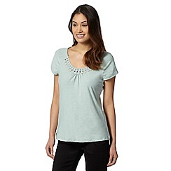 RJR.John Rocha - Designer light green crochet trim t-shirt