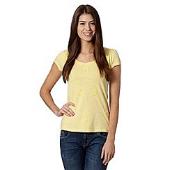RJR.John Rocha - Designer pale yellow applique flower t-shirt