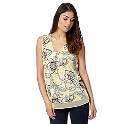 RJR.John Rocha - Designer pale yellow large floral jersey top