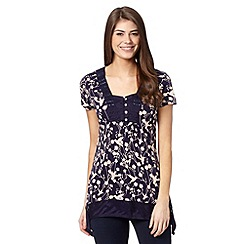 RJR.John Rocha - Designer navy bird and floral print hanky hem top