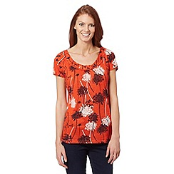 RJR.John Rocha - Designer orange floral linen blend top