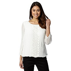RJR.John Rocha - Designer ivory pleated lace top