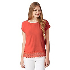 RJR.John Rocha - Designer dark peach crochet trim top