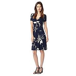 RJR.John Rocha - Designer navy painted floral knot front dress