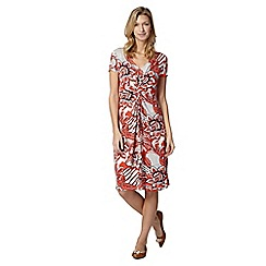 RJR.John Rocha - Designer orange large floral jersey dress