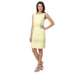 RJR.John Rocha - Designer yellow floral embroidered and crochet shift dress