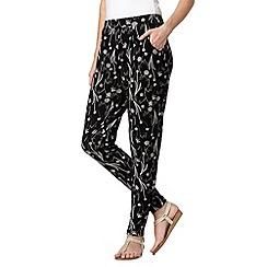 RJR.John Rocha - Designer black dandelion print jersey trousers