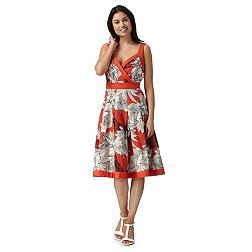 Designer dark peach ditsy floral V neck dress