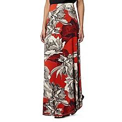 RJR.John Rocha - Designer dark peach dotty floral maxi skirt