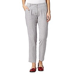 RJR.John Rocha - Designer pale grey tapered linen trousers