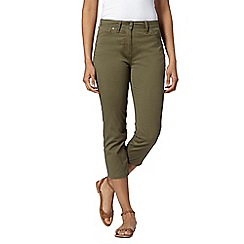 RJR.John Rocha - Designer khaki tummy shaping slim leg cropped trousers