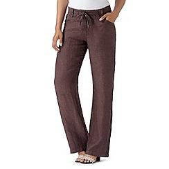 RJR.John Rocha - Designer chocolate pure linen trousers