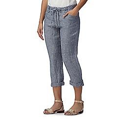 RJR.John Rocha - Designer navy linen blend cropped trousers