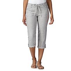 RJR.John Rocha - Designer pale grey linen cropped trousers