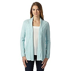 RJR.John Rocha - Designer light turquoise pointelle edge to edge cardigan