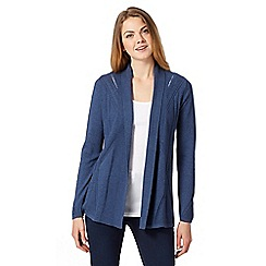 RJR.John Rocha - Designer dark blue pointelle edge to edge cardigan