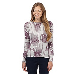 RJR.John Rocha - Grey line floral cashmere blend jumper