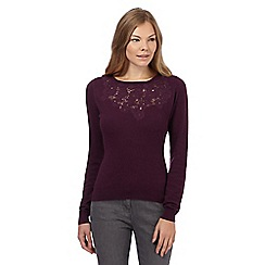 RJR.John Rocha - Dark purple lace front cashmere blend jumper