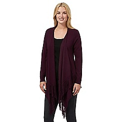 RJR.John Rocha - Dark purple fringed cardigan